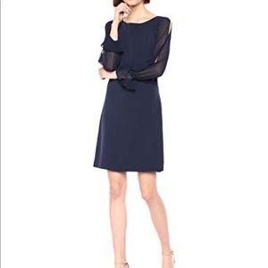 Karl Lagerfeld Chiffon Sleeve Crepe Sheath Dress